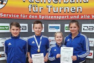 von links: Paul Meinert (Jg 04), Luis Hagen (Jg 05), Luisa Braaf (Jg 04) u. Jule Norbisrath (Jg 01)
