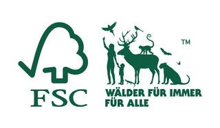 """FSC® Logo """"Wälder für immer, wetterfestes Holz für die Außenanwendung - Holzwerk Peter Stoiber"""