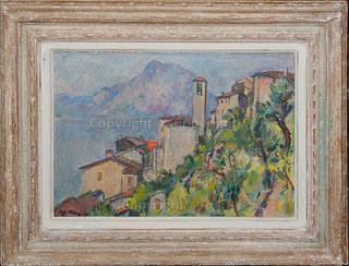 Dorfansicht Gandria mit San Salvatore und Luganosee