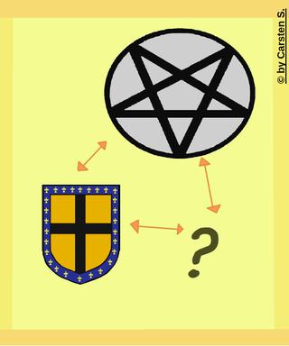 Das Wappen der Adelsfamilie de Rais. Ob Gilles de Rais wirklich der Hexerei verfallen war ist nicht völlig beweisbar. Jedoch schien er den dunklen Künsten nicht abgeneigt zu sein.