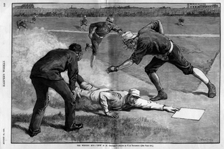 "Nell'illustrazione  ""The Winning Run - How Is It, Umpire?"" - 1885 Drawn by T. De Thulstrup - (www.printsoldandrare.com)"