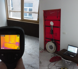 test d'infiltrométrie à l'air (BlowerDoor) et thermographie infrarouge des appartements d'un immeuble à Bruxelles en 2017 - PrismEco