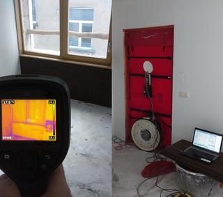 test d'infiltrométrie à l'air (BlowerDoor) et thermographie infrarouge des appartements d'un immeuble à Bruxelles en 2017 - PrismEco
