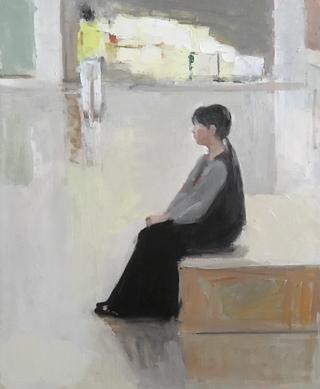 休日の展示室 15号 油彩(描画中)