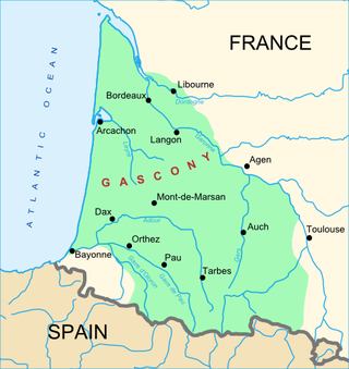 Map of Gascony region of France