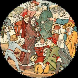 """Einige der Pilger, inklusive Chaucer der Pilger. Gemälde aus Mary Eliza Haweis' """"Chaucer für Kinder"""", gefunden bei Projekt Gutenberg."""