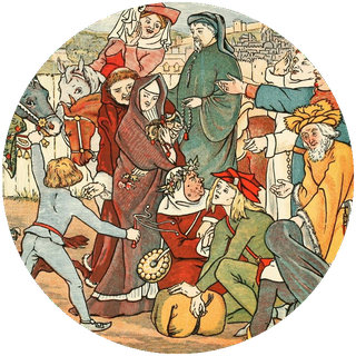 """Some of the pilgrims, including Chaucer the pilgrim himself. Painting taken from Mary Eliza Haweis' """"Chaucer for Children"""", available on Project Gutenberg."""
