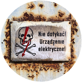 Danger sign in Szczecin, Poland