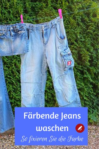 Färbende Jeans waschen Farbe fixieren #wäschewaschen #waschen #flecken