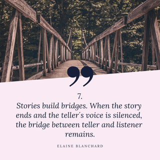 Zitat Storytelling: Stories build bridges. When the story ends and the teller´s voice is silenced, the bridge between teller ans listener remains. Elaine Blanchard
