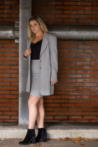Grey Striped Long Blazer from NHNCD