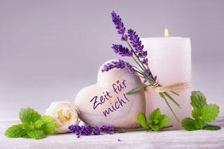 Kerze, Herz, Rose, Lavendel und Minze