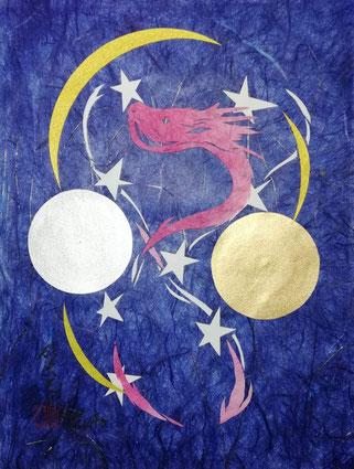ボスニア・ヘルツェゴビナの国旗の色を使用した切り絵・昇龍 製作者:松本寛幸