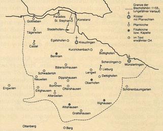 """Bischofshöri im 12. Jahrhundert; Karte aus """"Geschichte Tägerwilens"""", P. Giger, E. König, M. Surber"""