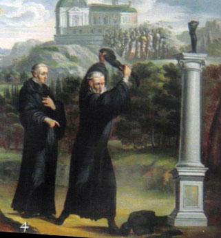 Gallus zerschlägt Heiligenbilder in Tuggen - aus www.heiligenlexikon.de