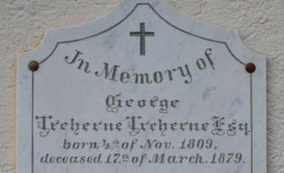 die Grabplatte von George Treherne neben dem Seiteneingang der Kirche Raperswilen