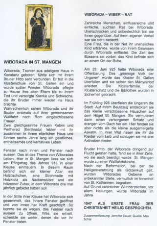 das Infoblatt über Wiborada, wie es in der Kirche St. Mangen aufliegt