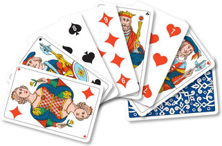 in einem Umkreis von einem Tagesritt um das Schloss Arenenberg spielen wir heute noch mit französischen Jasskarten; Louis Napoleon hatte eben immer ein französisches Spielset dabei...