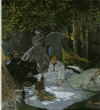 《草上の昼食》1865-66年(中央の断片)