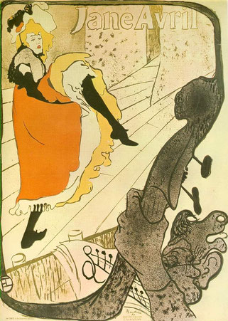 ロートレック作のジャンヌ・アヴリルのポスター(1893年)