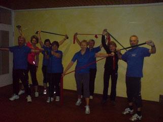 Gymnastikprogramm mit Stretchbändern