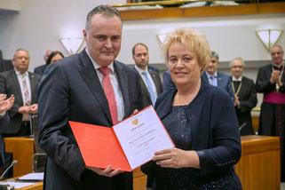Landeshauptmann Hans Peter Doskozil mit Landtagspräsidentin Verena Dunst (Fotos: Landesmedienservice Burgenland)