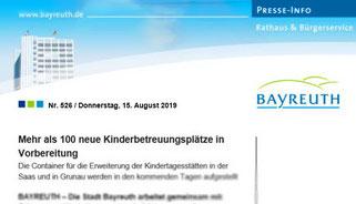 Mit Klick aufs Bild zur Pressemeldung auf www.bayreuth.de