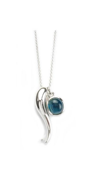 Silberkette mit Fisch und blauem Turmalin Anhänger silver chain fish pendant blu tourmaline