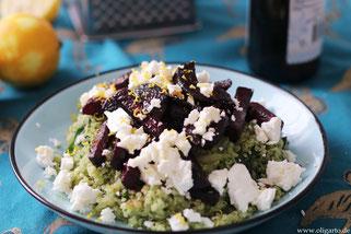 Leckere grüne Quinoa mit Rote Beete und Fetakäse Oligarto Rezepte Olivenöl