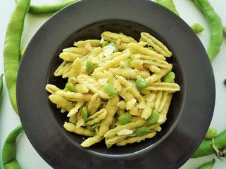 Pasta mit frischen Favabohnen und pecorini Olivenöl Oligarto