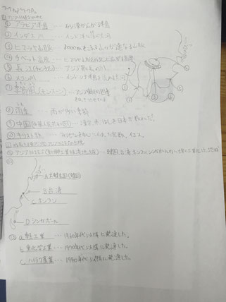 ノートにまとめる内容を整理しているところです。