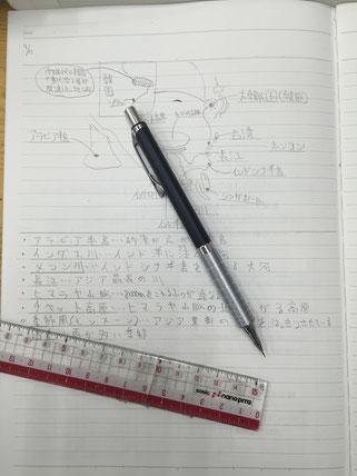 ノートにまとめているところです。