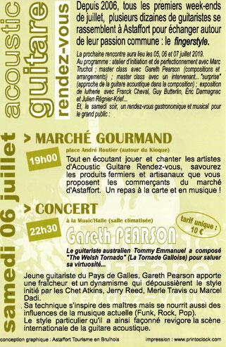 Programme Concert Acoustic Guitare 2019, Astaffort 47, Hotel Restaurant Cabrel