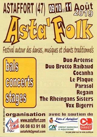 Festival asta'folk 2019, bals, concerts, stages, héberhement, hotel, restautant