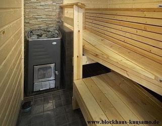 Sauna im Wohnblockhaus - Holzofen - Blockhhausbau  - Wellness im Blockhaus - Holzhaus in Blockbauweise