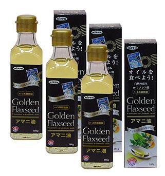 日本製粉 アマニ油 ゴールデンフラックスシード<186g>3本セット ニップンの「アマニ油」はカナダの契約農家で限定栽培された、黄金色でゴールデン種ともよばれているアマニから低温圧搾法で搾油されています。n-3系(オメガ3系)のα-リノレン酸は必須脂肪酸です。(小さじ1杯約4.7g中にα-リノレン酸2.6g含有)