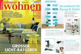 """Presseveröffentlichung der Garderobe Take Off Your Shoes and Jacket in dem deutschen Wohnmagazin """"Zuhause Wohnen"""""""
