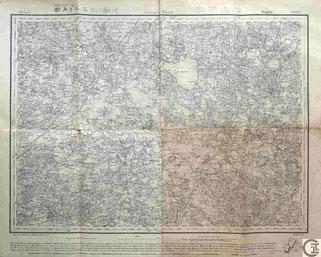 Stabskarte Gouvernement Witebsk, Dagda, Grenzregion Livland, Kurland, heute Lettland, Baltikum und Russland