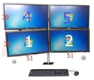 モニターアームをデスクに取り付けるときの位置決め 4画面の場合