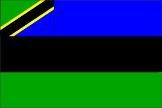 Bandiera di Zanzibar dal 2004.  È la bandiera del 1964 aumentata con un cantone della bandiera della Tanzania