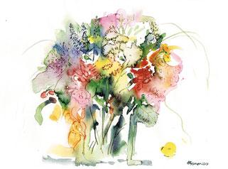 Blumenstrauss Aquarell und Farbstift