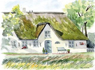 weißes Reetdachhaus, Aquarell