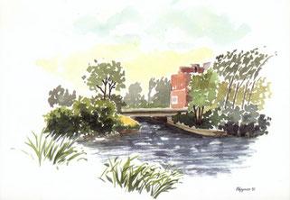 Aquarellpostkarte der inzwischen abgerissenen Mühle