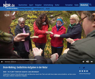NDR TV Sendung aufgezeichnet am 14. November 2017 mit dem Titel Brain-Walking: Gedächtnis-Aufgaben in der Natur
