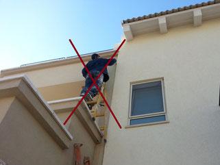 Riskant mit Leiter