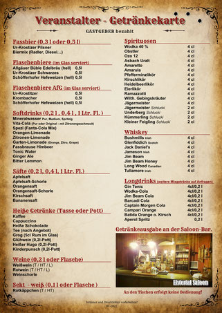 Veranstalter-Getränkekarte Premium Elstertal Saloon