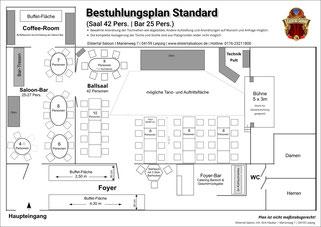 Grundriss- und Bestuhlungsplan Elstertal Saloon