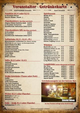 Veranstalter-Getränkekarte Basis Elstertal Saloon