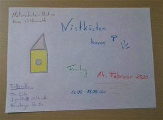 Projekt Nistkästen bauen  JUKIS Dorfgemeinschaft Haus Wildenrath