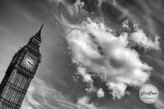 Big Ben, londres, nuages, photo noir et blanc, art, street photography, CarCam